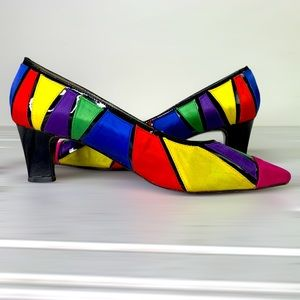 HP RARE Vintage J.Renee satin multicolore Heels